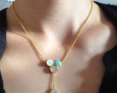 15% Discount Triple Stone Gold Necklace with Pink Quartz, Moonstone and Aventurine Stones