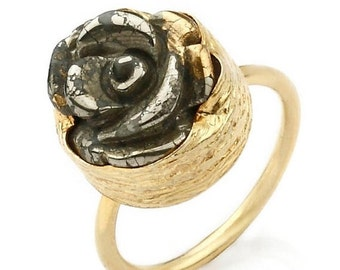 15% Discount Golden Rose Ring with a carved Pyrite Stone