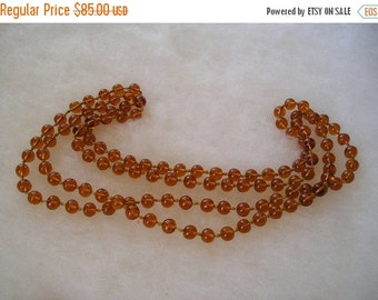SALE Amber Gripoix French Glass Long Flapper Beaded Hand Knotted Necklace
