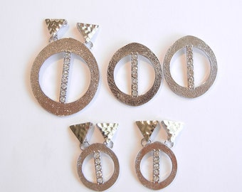 Set of Oval Abstract Pendant Charms Textured Silver-tone