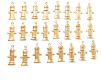 Set of 24 or 12 Pairs of  Brass Fire Hydrant Charms