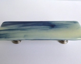Streaky Adventurine Blue and French Vanilla Fused Glass Cabinet or Drawer Pulls