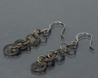 Hardware Jewelry- Upcycled Gunmetal Washer Earrings, Hardware Earrings, Industrial Jewelry, Industrial Earrings by Tanith Rohe