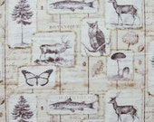Woodland Collage Cotton Fabric / David Textiles / Moose, Deer, Fish, Butterflies, Mushrooms, Trees, Owl / Off White, Beige, Brown / One Yard
