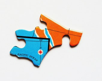 Pacific Ocean Wood Brooch - Pin / Upcycled Vintage 1961 Wood Puzzle Piece / Unique Wearable History Gift Idea / Timeless Gift Under 20