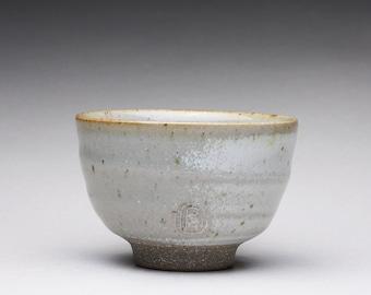 handmade pottery cup, yunomi, ceramic teacup with light gray celadon glaze