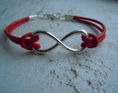 Valentines Day Gift, Infinity Bracelet, Red, Black, Leather Bracelet, Infinity Jewelry, Unisex Bracelet, Gift For Her, Gift For Him