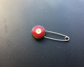 Silver Tone Evil eye Pin -Red