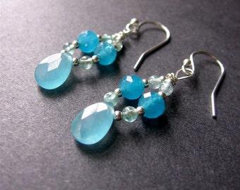 Aqua Beaded Dangle Earrings, Chalcedony Apatite Earrings, Long Gemstone Earrings