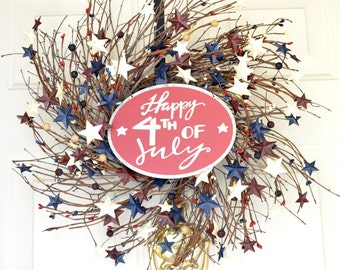 4th of July Wreath Happy 4th of July sign Twig wreath Front door wreaths Red White blue chippy stars  Summer wreath Summer Party Patriotic