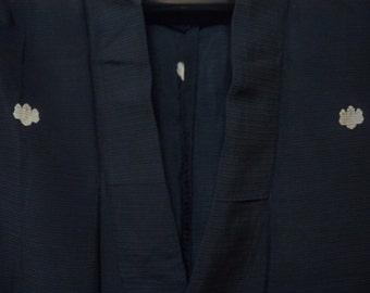 Vintage kimono S192, black silk