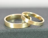 Set of Gold Rings, Solid 14K Yellow Gold, Matte Brushed Finish, Custom Options, Sea Babe Jewelry