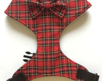 Pug Dog harness - Red Tartan, Custom Made Soft Dog Harness