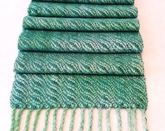 Handwoven Cotton Rayon Tencel Scarf - Woven Scarf, Seafoam Scarf, Green Scarf, Tropical Scarf, Woven Scarf #16-12