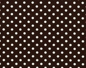 1 Yard of Dumb Dot by Michael Miller Fabrics - Fabric Color is Brown and White Polka Dots