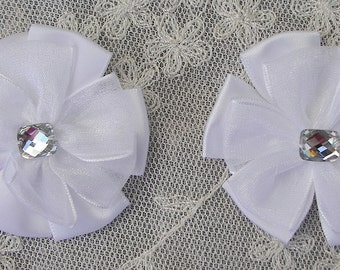 2 pc Beaded w Stone White Satin Organza Ribbon Flower Applique Baby Doll Bridal Corsage Bow