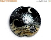 ON SALE 60% OFF Sable Celestial Lentil Focal Bead - Silver Dichroic - Handmade Glass Lampwork Bead 11832802