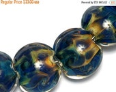 ON SALE 30% OFF Four Blue & Orange Lentil Beads -10407512 -Handmade Grace Lampwork Bead sets