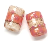ON SALE 30% OFF Glass Lampwork Bead Set - Six Pink Desert Mini Kalera Beads 10704303