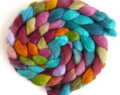 Finn Wool Roving - Hand Painted Spinning or Felting Fiber, Mahogany and Blue