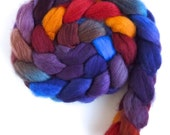 Finn Wool Roving - Hand Painted Spinning or Felting Fiber, Winter Sunset 7