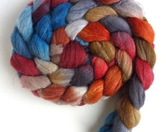 Merino/ Superwash Merino/ Silk Roving (Top) - Handpainted Spinning or Felting Fiber, Banner Day