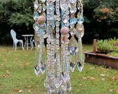 Crystal Wind Chime, French Rococo Wind Chime, Pale Blue and Gold Crystal, Outdoor Decor