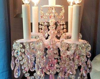 Reserved for Mae - Vintage Pink Roses Crystal Candelabra, Vintage Electric Candelabra, Shabby Pink Table Chandelier, Home Decor