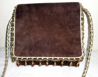 Vintage 80s ViVa bags of California  USA embellished all genuine leather suede cross body bag, satchel shoulder bag MINT gorgeous