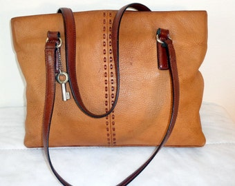 Fossil genuine butter soft camel tan pebbled leather tote, Boston bag,  satchel silver fob , brown straps ,vintage 90s