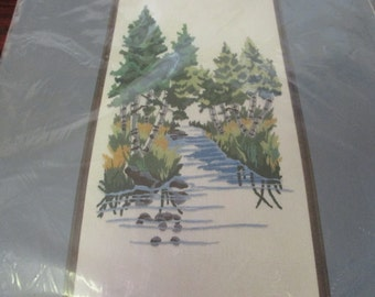 Vintage Sealed Crewel Embroidery Kit Wooded Stream WonderArt 5312 Forest Scene