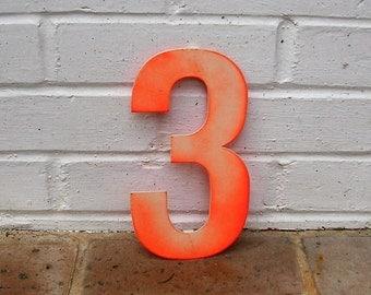 Vintage Metal Number 3 Three Sign Vintage Metal Marquee Number Three Sign