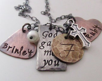 God gave me you II- Rustic Family Necklace - Personalized Jewelry - Hand stamped necklace