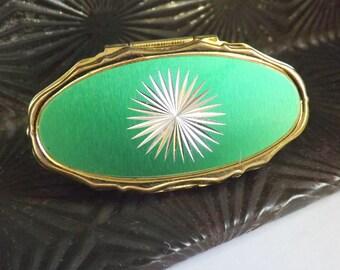 Vintage lipstick holder green starburst gold tone green star burst lipstick mirror made in Japan 1950s 1960s