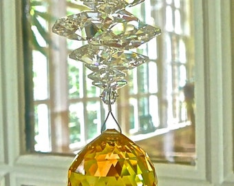 "Yellow Crystal Sun Catcher, Light Topaz Swarovski Crystal Ball with Clear Octagons, Sun Prism, Rainbow Maker, Window Ornament - ""CATHERINE"""
