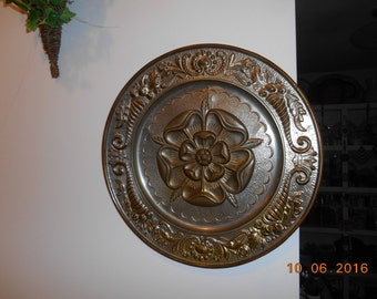 Vintage Made in England Round Flower Metal Wall Piece