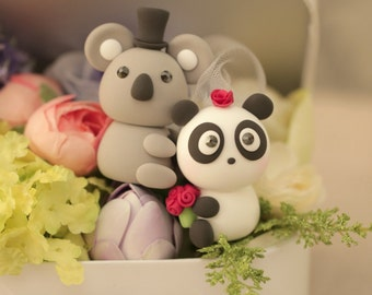 panda and koala Wedding Cake Topper-love Koala and Panda cake topper