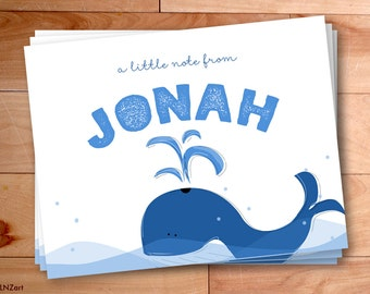 Whale Thank You Notes, Boy Notecards, Personalized Notes, Kids Thank you Cards, Custom Childrens Thank You Notes, Personalized Notecards,12