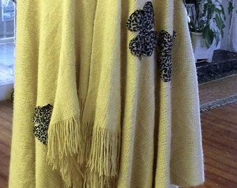 Game Day Shawl/Full length Shawl/Fringed Shawl/Embellished Shawl/Soft Oversize Shawl/Animal Print Shawl/Sheerfab Funwear