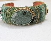 Green jasper bracelet bead embroidered cuff statement bracelet cabochon bracelet seed bead jewelry handmade