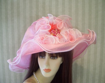 "Ladies Light Pink Wide Brim Hat, ""Sparkly Pink Jewel"" Tea Party Hat, Victorian, Wedding Hat, Easter, Organza pink Hat"