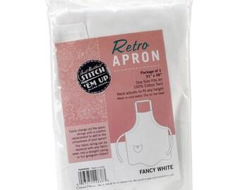 Adult Adjustable Retro Fancy Cut Apron- White