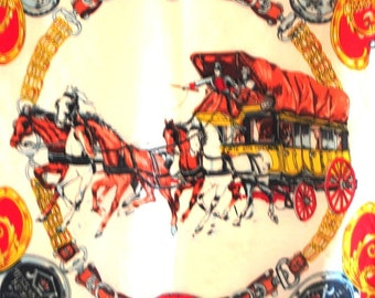 Equestrian vintage 60s silk scarf with a victorian royal post  service  motive.