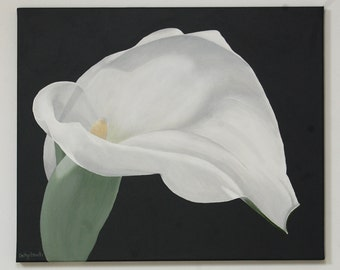 Arum Lily Painting - White Flower on Gray Background Floral Botanical Wall Art