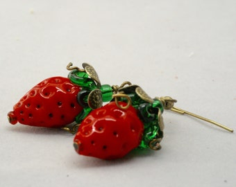 Strawberry Earrings, Artisan Lampwork Strawberry Jewelry, Organic Strawberry Earrings, Farmer's Market Berry Earrings, Vegetarian Jewelry,