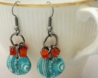 Boho Turquoise Earrings, Sea Urchin Earrings, Fun Teal Earrings, Turquoise Jewelry, Beach Jewelry, Turquoise and Orange Summer Earrings,Gift