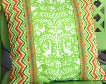 "Mexican Otomi Style Pillow Cover 14"" Square Chevron Lime Green Orange White Vintage Trim"