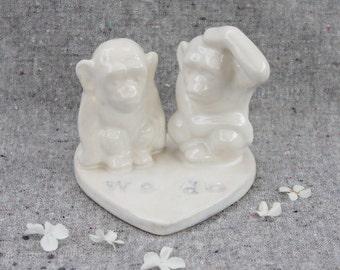 Wedding Cake Topper Two Little Monkeys on a Heart
