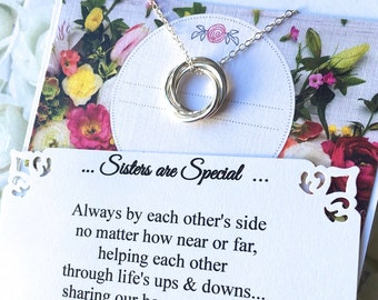 Jewelry for FOUR SISTERS Necklace with Poem 4 Sisters Gifts Sterling Silver INFINITY RINGs for Four Sisters Connected Circles  Gift Wrapped