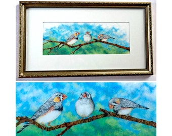 Framed Original Colored Pencil Drawing, Zebra Finch Birds Original Framed Art, Original Finch Bird Drawing, Birds on a Branch Drawing